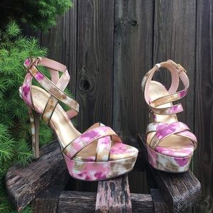 Jessica Simpson Floral Strap Gold Heels